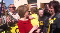 Exterior shots Nicola Sturgeon Leader of SNP pose for photos with SNP supporters and candidate Corrie Wilson during campaigning day in Ayr on April...