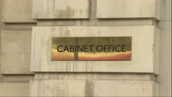 Exterior shots of 70 Whitehall the Cabinet Office building with a brass plaque and sign on November 11 2014 in London England