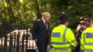 Exterior shots of a crowd of people booing and swearing Boris Johnson as he leaves his home after the EU referendum result on June 24 2016 in London...