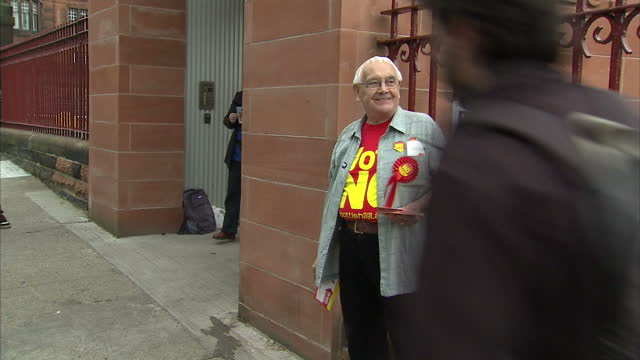Exterior shots of a elderly No Campaigner outside a polling Station on September 18 2014 in Edinburgh Scotland