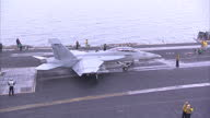 Exterior shots of a F/A18F Super Hornet of Strike Fighter Squadron 22 aka 'Fighting Redcocks' taking off from the USS Carl Vinson on April 04 2015 in...