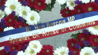 Exterior shots of a floral wreath outside the Knesset commemorating the visit by John Bercow to Jerusalem on 13 February 2017 in Jerusalem Israel