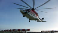 Exterior shots of a helicopter landing on helipad on Babbage offshore gas platform North Sea Gas Production at Babbage Gas Platform on November 12...