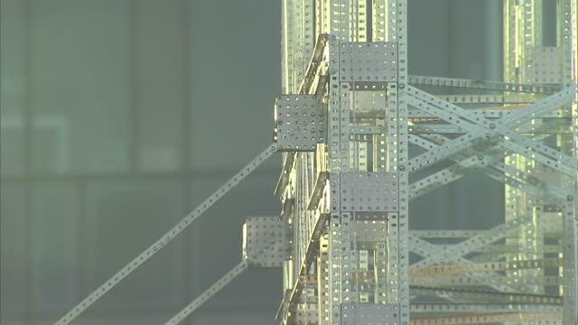 Exterior shots of a Meccano suspension bridge over Clarendon Dock in Belfast part of a world bridge building record on September 19 2015 in Belfast...