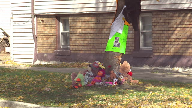 Exterior shots of a memorial to a victim of gun crime in Chicago Illinois Memorial to roadside shooting victim on December 14 2013 in Chicago Illinois