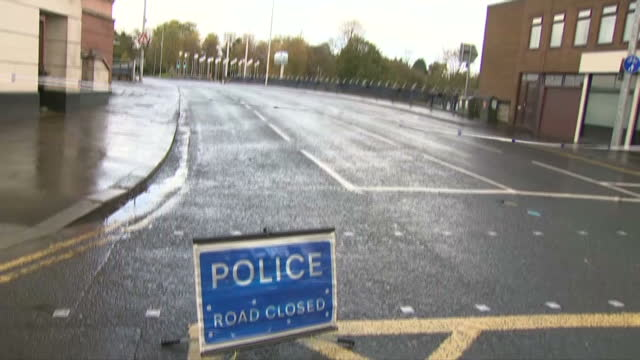 Exterior shots of a police cordon across a road in Omagh near the scene where a pipe bomb was found near a war memorial where a Remembrance Sunday...