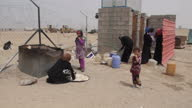 Exterior shots of a refugee camp and UNHCR tent on April 21 2015 in Fallujah Iraq