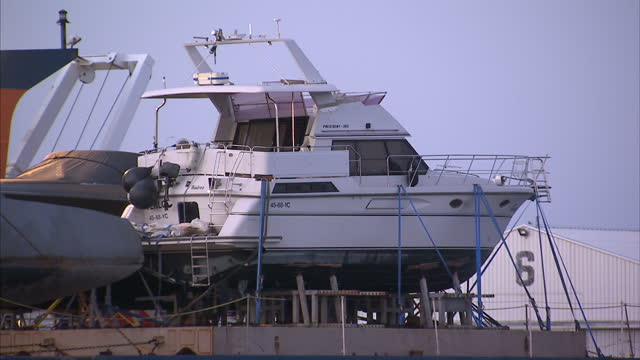 Exterior shots of a replica UBoat to be featured in the forthcoming Sky TV drama series Das Boot in La Rochelle harbour as workmen make preparations...