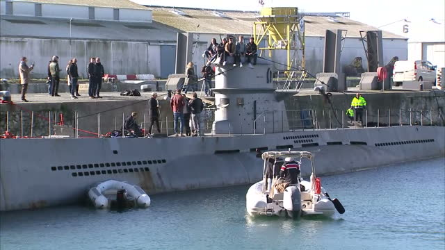 Exterior shots of a replican German Uboat on location for filming of a new television drama based on the 1981 Second World War film Das Boot and...
