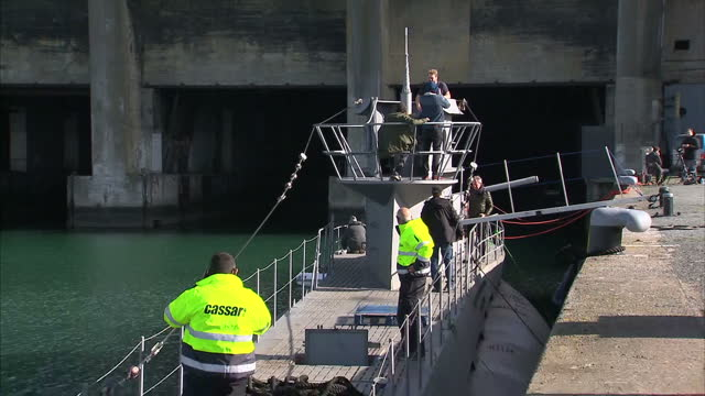 Exterior shots of a replican German Uboat on location in La Rochelle harbour for filming of a new television drama based on the 1981 Second World War...