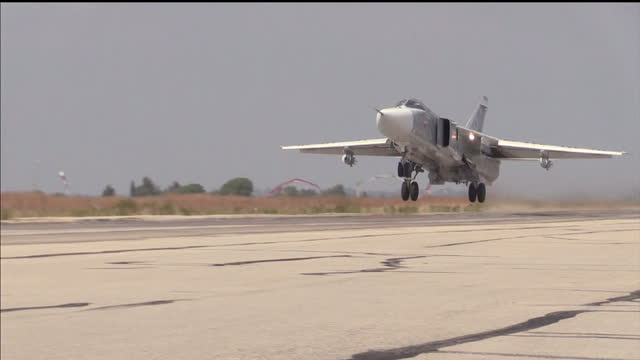 Exterior shots of a Russian Air Force Sukhoi Su24 taking off from an airbase in Latakia on December 21 2015 in Latakia Syria