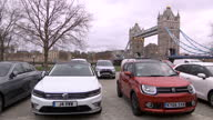 Exterior shots of a selection of 25 alternatively fuelled cars on display near Tower Bridge including the Volkwagen Passat GTE Suzuki Ignis Hybrid...