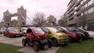 Exterior shots of a selection of 25 alternatively fuelled cars on display near Tower Bridge including the Renault Twizy and Nissan LEAF >> on...