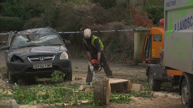 Exterior shots of a severely damaged car and damaged house in Exeter which were hit by a fallen tree in high winds on February 08 2016 in Exeter...