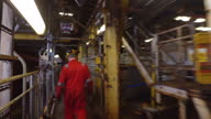 Exterior shots of a Shell engineer walking around a decommissioned oil rig on 11 April 2017 in Aberdeen United Kingdom
