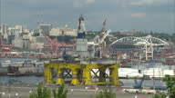 Exterior shots of a stationary oil platform in Seattle harbour with city skyline in the background before its departure for the Arctic on May 17 2015...