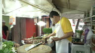 Exterior shots of a street food vendor at a roadside stall cooking and selling tacos in Mexico City on July 09 2015 in Mexico City Mexico