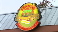 Exterior shots of a typical American diner the Sunrise Cafe with a neon sign outside on November 06 2012 in Concord New Hampshire