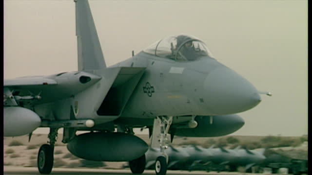 Exterior shots of a US Air Force F15 taxiing at Dhahran air base during the start of Operation Desert Storm>> on January 17 1991 in Dhahran Saudi...
