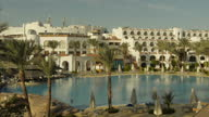 Exterior shots of a very quiet resort hotel in Sharm el Sheikh with empty swimming pools and palm trees on November 08 2014 in Sharm ash Shaykh Egypt