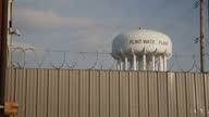 Exterior shots of a water tower in Flint after it was revealed the town's water supply is heavily polluted on January 22 2016 in Flint Michigan