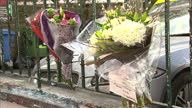 Exterior shots of Abbey Road Studios journalists standing outside shots of floral tributes left outside of the studios in memory of George Martin on...
