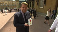 Exterior shots of actor James Corden posing with his OBE outside Buckingham Palace>> on June 25 2015 in London United Kingdom