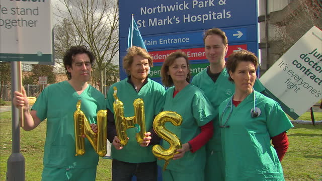 Exterior shots of actors Stephen Mangan Oliver Chris Pippa Haywood Tamsin Greig and Julian RhindTutt who all played characters in the medical comedy...