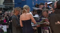 Exterior shots of actress AnneMarie Duff signing autographs for fans on the red carpet>> on October 07 2015 in London England