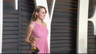 Exterior shots of Actress Brie Larson posing for photos with Best Actress Oscar at the Vanity Fair Party on February 28 2016 in Hollywood California