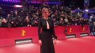 Exterior shots of Alba Rohrwacher posing for photos on a red carpet at the Berlin premiere of 'Hail Caesar' on February 12 2016 in Berlin Germany