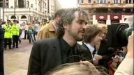 Exterior shots of Alfonso Cuaron speaking to press at the premiere of Harry Potter and the Prisoner of Azkaban on May 30 2004 in London England