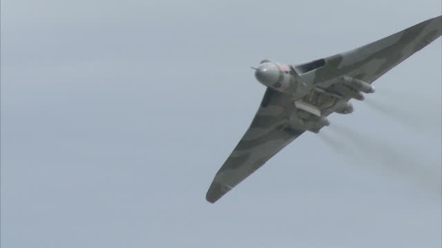 Exterior shots of an Avro Vulcan bomber taking part in a flypast at the Clacton Airshow on August 27 2015 in Clacton England