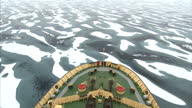 Exterior shots of and Icebreaker moving through Arctic Ice Floes in the North West Passage on August 25 2007 in Cambridge Bay Canada