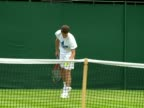 exterior shots of Andy Murray warming up and practising on a grass court ahead of the Wimbledon tennis championships Sky News at Wimbledon on June 19...