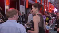 Exterior shots of Anne Hathaway posing for photographs and signing autographs for fans at the premiere of The Intern in Leicester Square>> on...