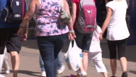 Exterior shots of anonymous overweight and obese people walking around WestonSuperMare on a sunny day>> on August 08 2014 in WestonSuperMare England