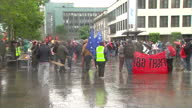 Exterior shots of Anti G8 protesters gathered very peacefully in Belfast city with placards and signs Anti G8 Protests in Belfast on June 15 2013 in...