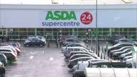 Exterior shots of Asda supermarket shoppers in the car park The car park includes a click collect point an Asda delivery van Asda Supermarket...