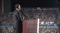Exterior shots of Barack Obama speaking on stage during the 2008 Democratic Convention at which he announced his acceptance of the Democratic...