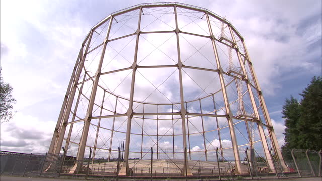 Exterior shots of Bath's last gasometer built in the 1920's The gasometer is situated at Western Riverside is under threat of demolition to make way...