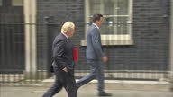 Exterior shots of Boris Johnson walking to 10 Downing Street holding a red case on 12 June 2017 in London United Kingdom