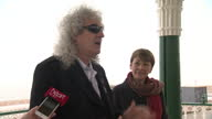 Exterior shots of Brian May speaking on behalf of the Green Party during their election campaigning on April 13 2015 in Brighton England