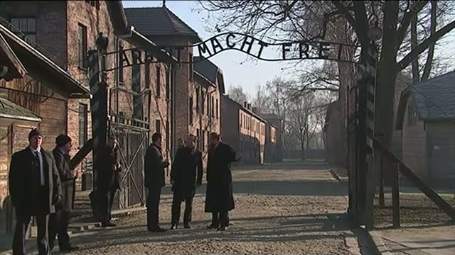 Exterior shots of British Prime Minister David Cameron visiting the AuschwitzBirkenau concentration camp including shots of David Cameron walking...