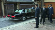 Exterior shots of British Prime Minister Theresa May arriving in Kyoto and is greeted by Japanese Prime Minister Shinzo Abe on 30th August 2017