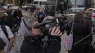 Exterior shots of Cairo High Court with a scrum of cameramen and journalists outside during the retrial of three Al Jazeera journalists on January 01...