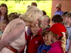 Exterior shots of Camilla Duchess of Cambridge chatting to young children at the Sir Harold Hillier Gardens Ampfield Camilla chatting to children at...