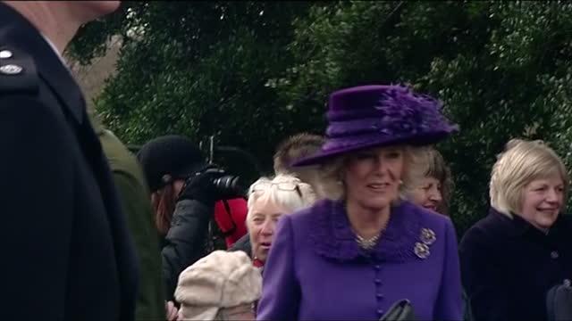 Exterior shots of Camilla Duchess of Cornwall at church on Christmas Day and shaking hands with well wishers Duchess of Cornwall on Christmas Day at...