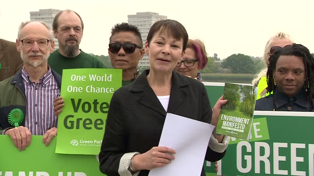 Exterior shots of Caroline Lucas Coleader of the Green Party launching the Green Party's Environment Manifesto at the Woodberry Wetlands nature...
