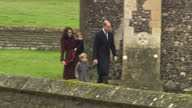 Exterior shots of Catherine Duchess of Cambridge and Prince William Duke of Cambridge walking with Prince George and Princess Charlotte to St Mark's...